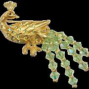 Lovely KRAMER Crystal Tailed Peacock Pin MINT