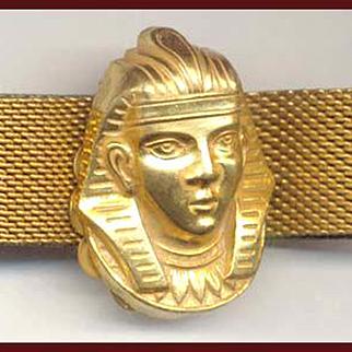 Miriam Haskell Egyptian Revival Mesh Bracelet Pharaohs Head Clasp