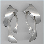 Signed J. NELSON Navajo Silversmith Modernist Sterling Silver Earrings