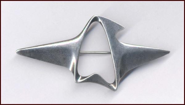 Georg Jensen Modernist Sterling Silver Pin Brooch by Henning Koppel