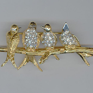 Joan Rivers 3 Dimensional Birds on a Branch Pin