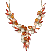 Bright Orange & Metal Filigree Bead JULIANA (DeLizza & Elster) Necklace