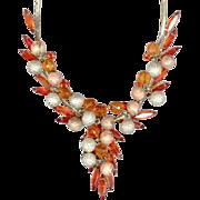 Bright Orange & Metal Filigree Bead JULIANA (DeLizza & Elster) Necklace