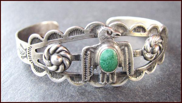 Native American Coin Silver & Turquoise Cuff Bracelet