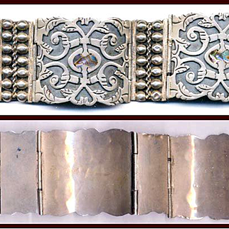 LOS BALLESTEROS Sterling Abalone Bracelet Book Piece