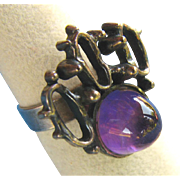 Dramatic Modernist Danish Silver Ring with Tall Amethyst Cabochon