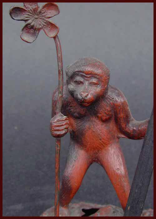 RARE Antique Cast Metal Monkey Dinner Bell