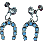 Charming Sterling Silver Horseshoe Earrings Accented with Turquoise Cabochons
