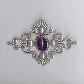 Elegant Taxco Silver and Amethyst Cabochon Pin