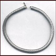 Elegant UNOAERRE Italian Sterling Silver Snake Link Necklace / Choker