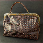 Large Vintage Crocodile Traveling Bag