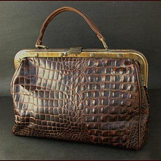 Large Vintage Crocodile Traveling Bag