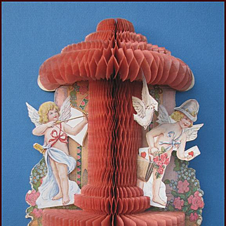 Intricate Victorian Valentine Honeycomb / Accordion Paper Cupid