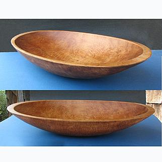 HUGE Primitive Hand Carved Hardwood Bread Bowl