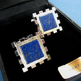 MINT Lanvin Paris Modernist Style Lapis & Silver Tone Metal Cufflinks in Original Box