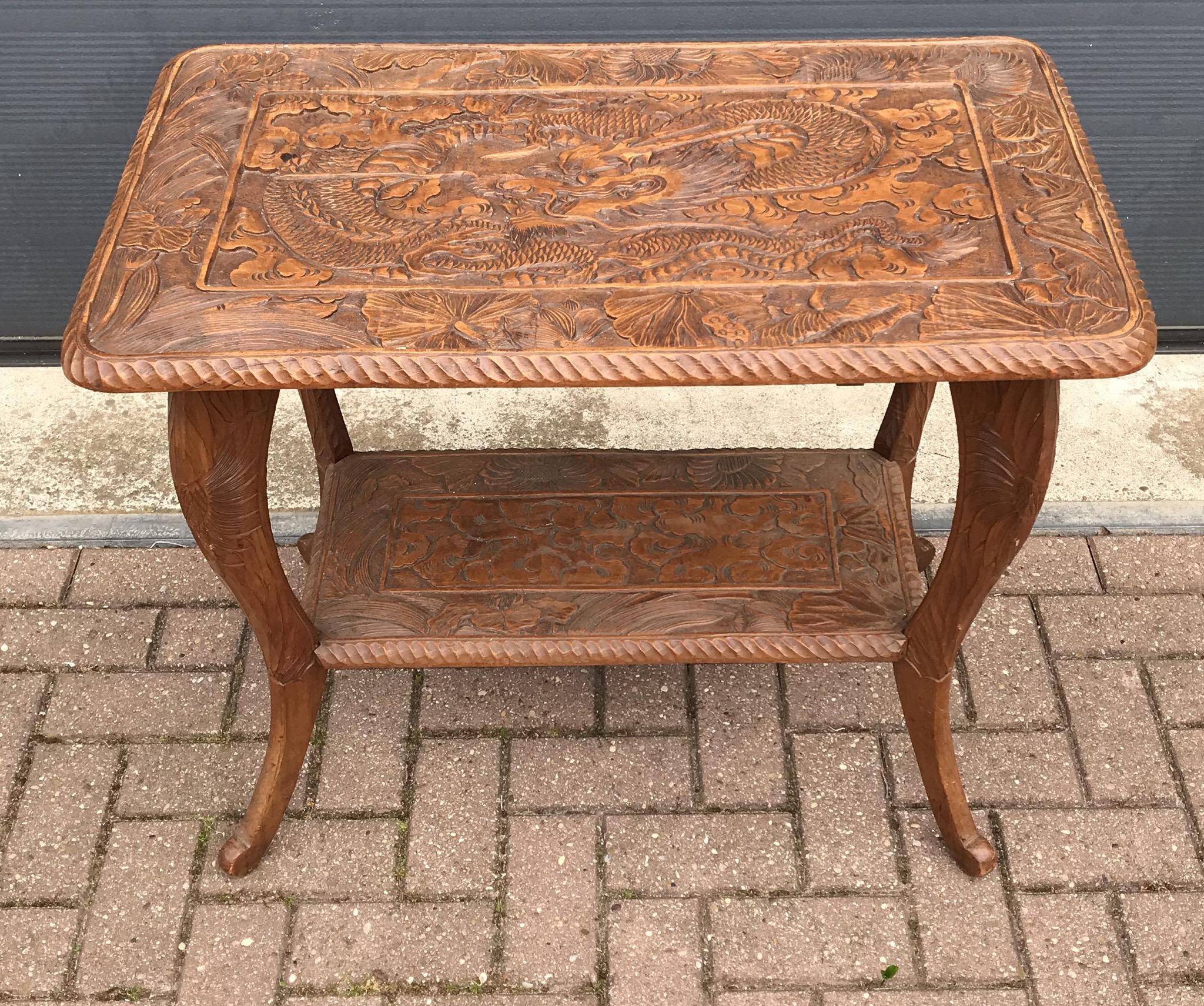Art Nouveau Carved Wood Table With Sunflowers And Dragon From Europeantiqueshop On Ruby Lane