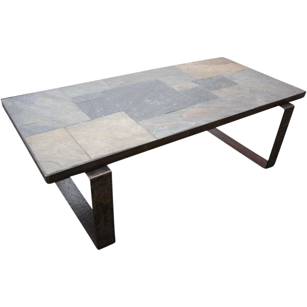 Beautiful Vintage Handmade Wrought Iron Art Coffee Table Paving
