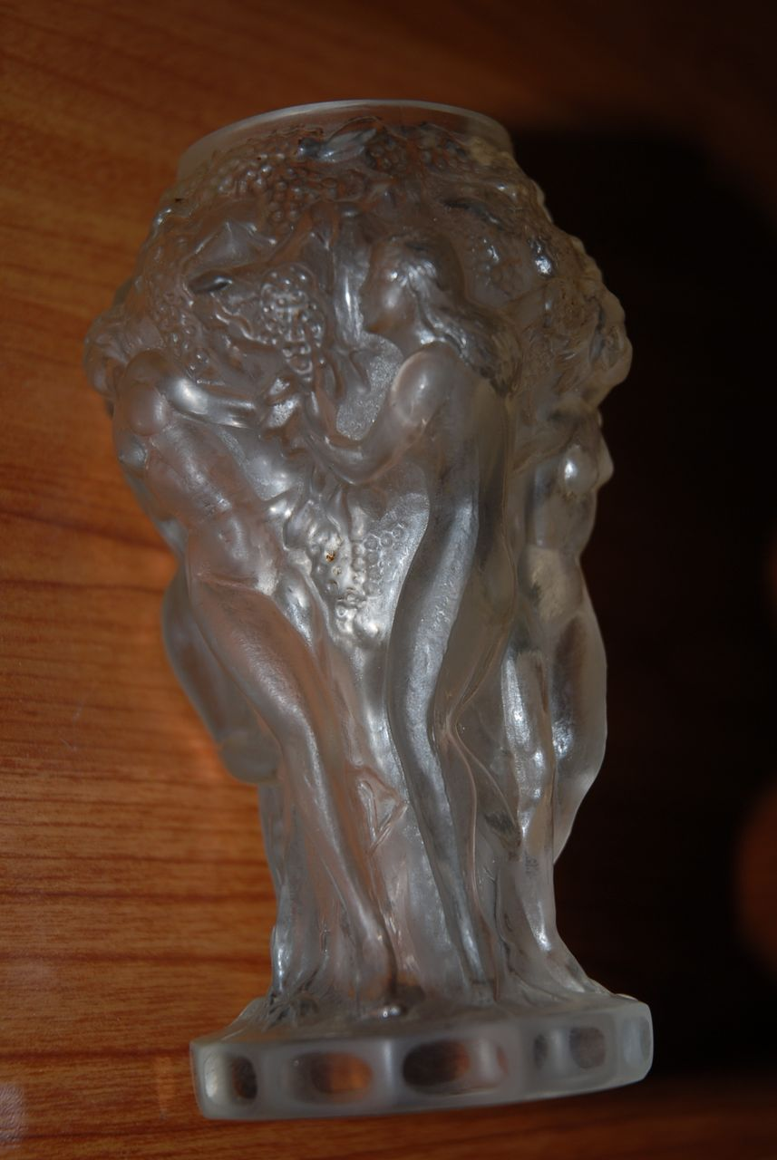 Very Nice Vintage Quality Glass Vase with Nude Girls and Fruit Decor