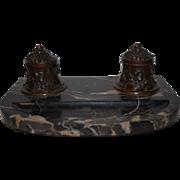 France A.Villien Finest Bronze Marble Desk Inkwell Stand Andre Villien