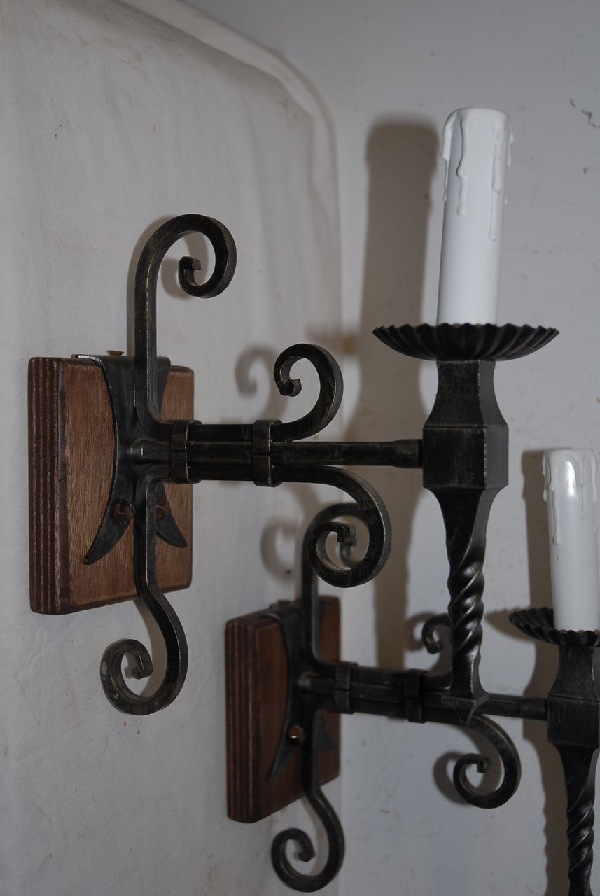 A French Pair Wrought Iron 1-light Wall Sconces