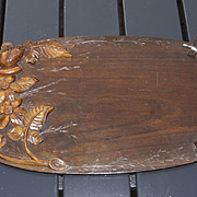 A French Art Nouveau Fine Carved in Wood Display Tray with Flower Decor