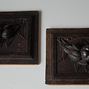 Pair Lovely Fine Carved Wooden Wall reliefs with Fruit Decor