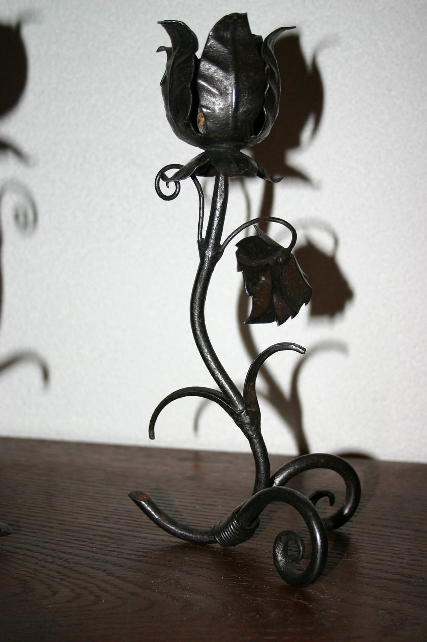 Pair of Vintage Wrought Iron Candle Stick Holders with Floral Design
