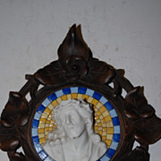 Antique Christ Head Plaque in a Carved Wooden Black Forest Frame, Religious Art