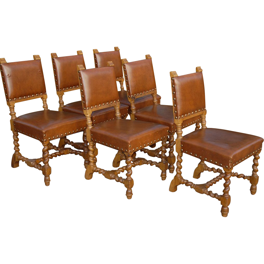 Antique wooden dining chair - Vintage Set Of Six Carved Wood Barley Twisted Dining Chairs Leather Seats And Back