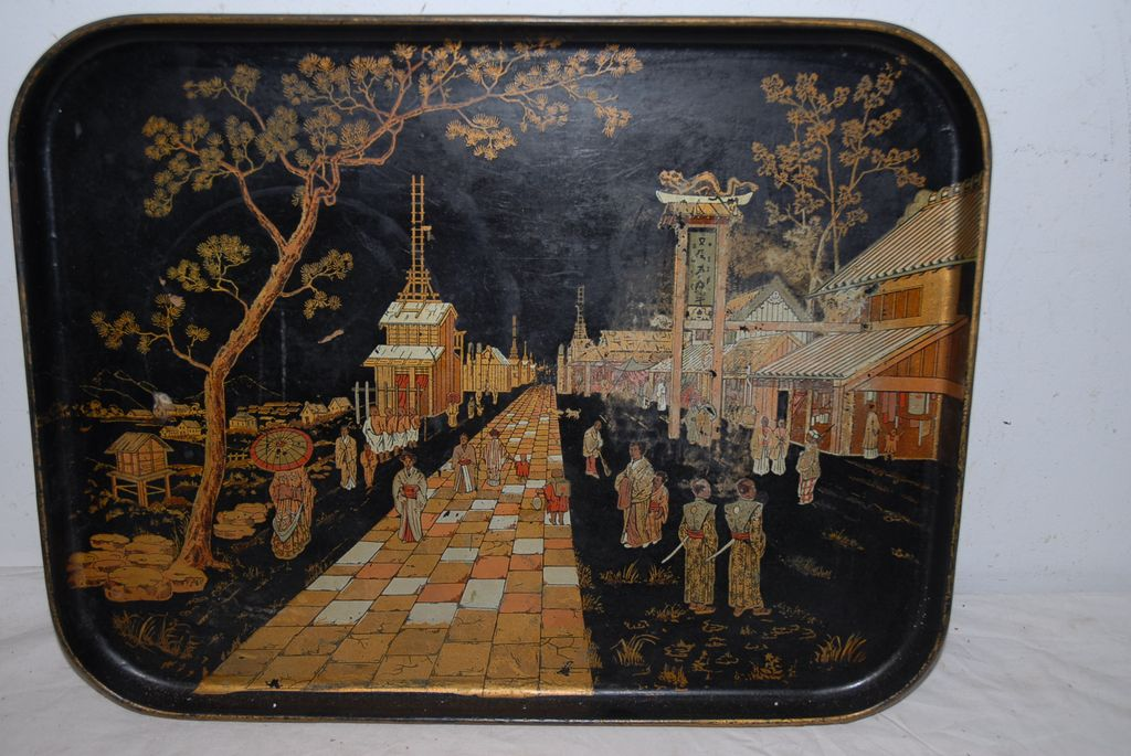 Antique Japanese Meiji Hand Painted Lacquer Wood Tray