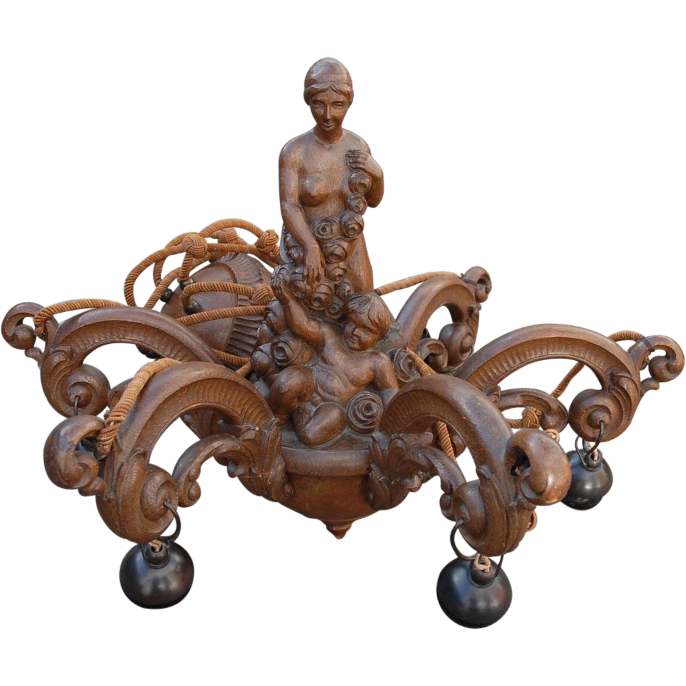Art Nouveau Wooden 6-light Chandelier with Nude and Putti