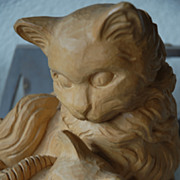 Lovely Fine Carved Wooden Kittens Group Statue