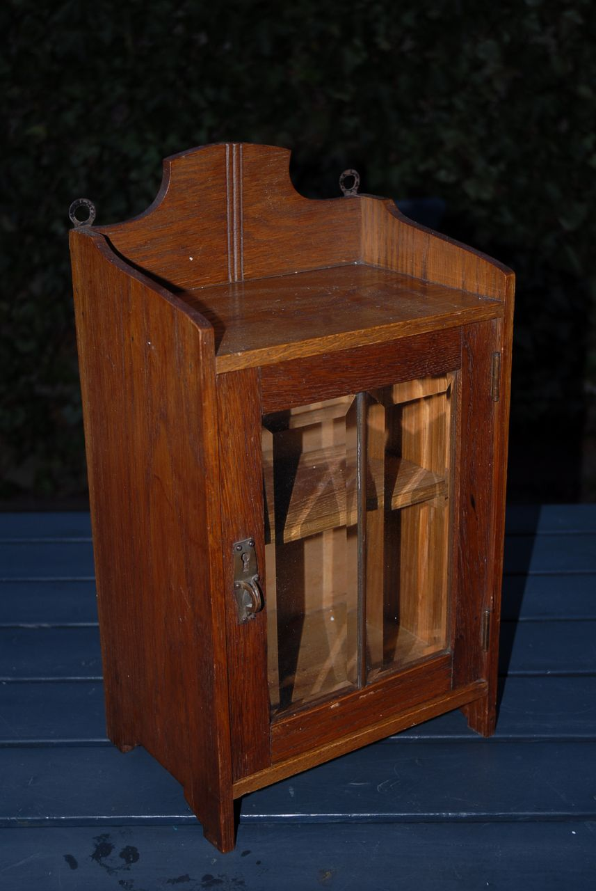 A Vintage Wooden Display Hanging Cabinet