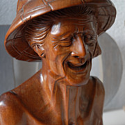 Beautiful Bali Art Museum Quality Carved in Wood Old Man Bust