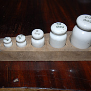 Set of 6 Antique Porcelain Scale Weights in Wood Holder