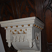 Beautiful Painted  this 19th Century Carved Wood Gothic Art Wall Bracket Shelf