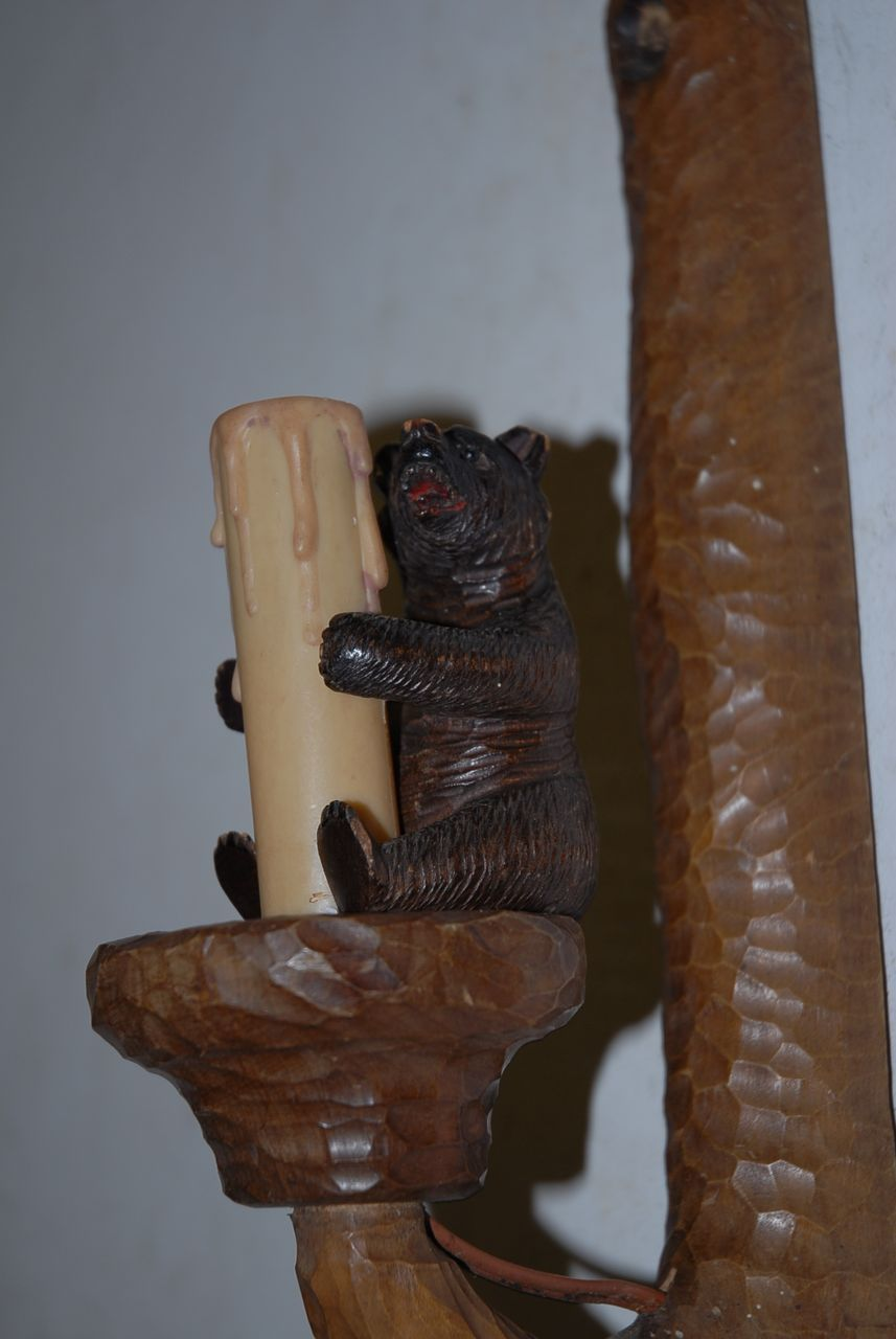 Vintage Carved Wood Black Forest Art Wall Sconce with Bear