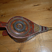 Antique Original folk Art  Painted Wooden Fireplace  Bellows