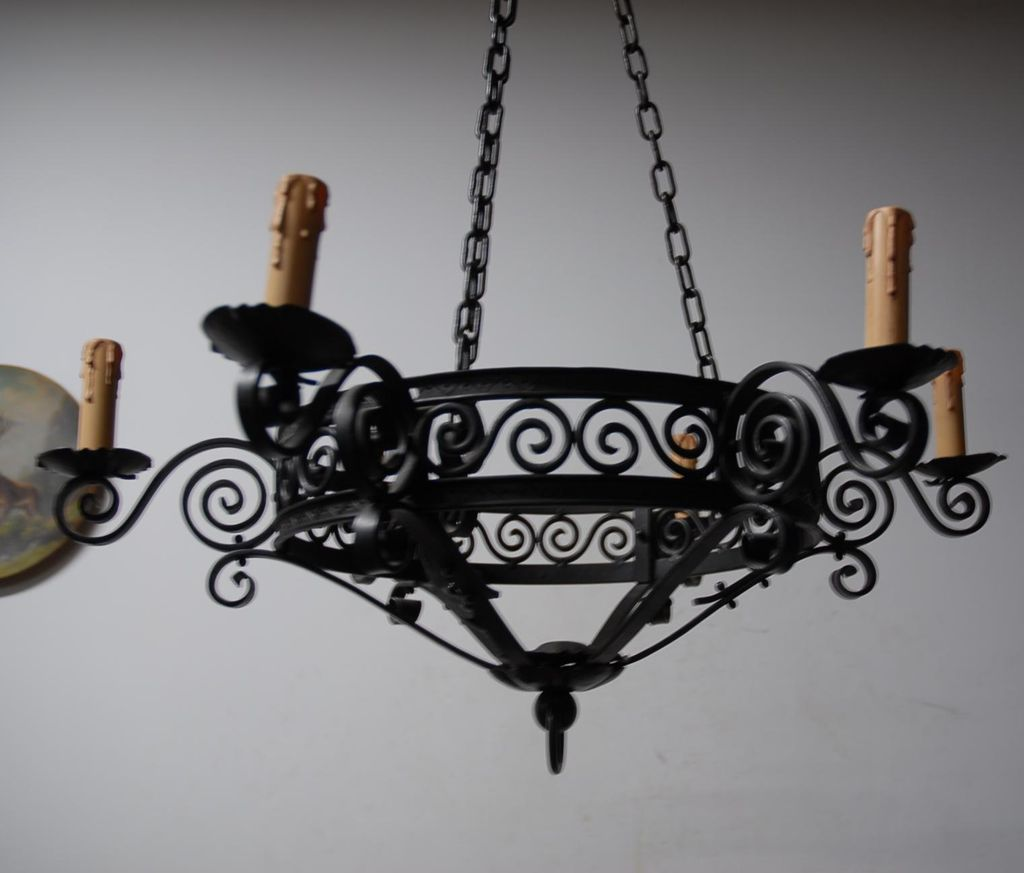 Unique  Wrought Iron Art 6-light Chandelier