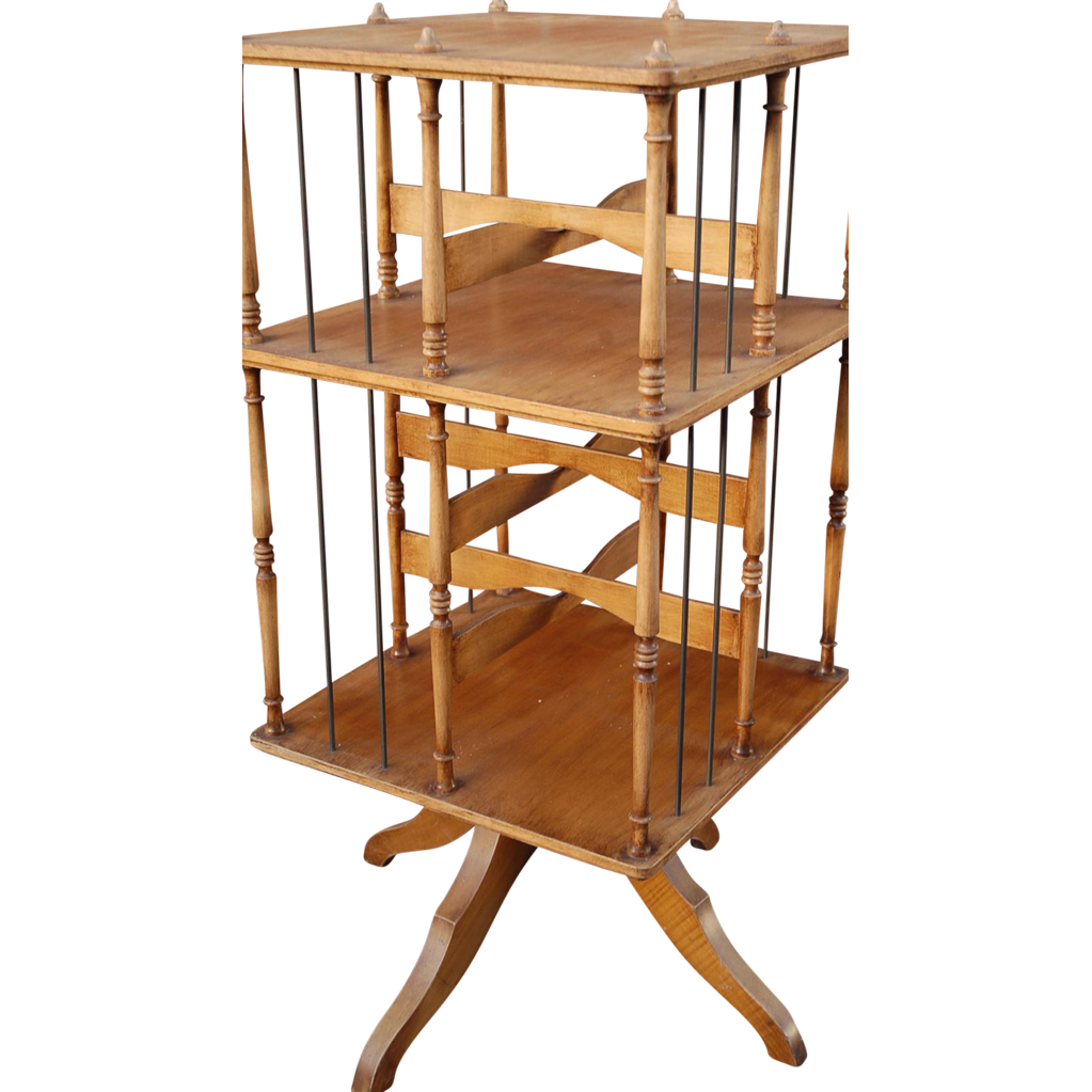 Vintage Wooden Revolving Bookcase 2-tiers