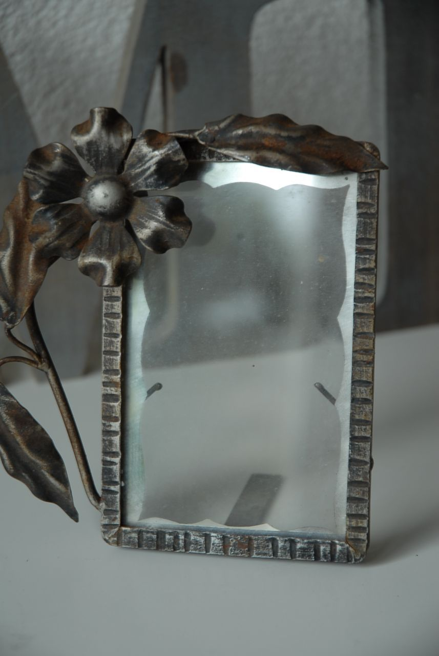 An Art Nouveau Wrought Iron Floral Picture Frame