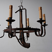 Rare  Vintage Wrought Iron  6-light Chandelier with Pistol(fake)