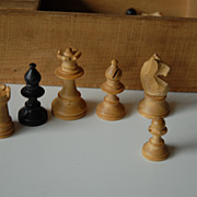 Vintage Fine Hand Made Wooden Chess Set in Box,