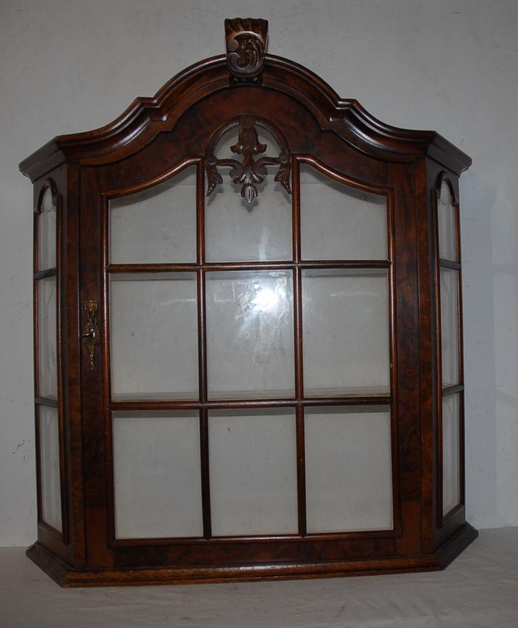 Vintage Quality Wooden & Glass Display Vitrine Wall Hanging 1-door ...