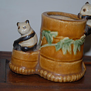 lovely Antique  Bonsai Pot with Panda Bear