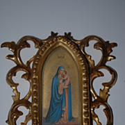 Antique Italian Gild Carved Wood Rococo Frame with Madonna & Child Picture
