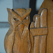 Antique Solid Hand Carved Wood Gothic Art Style Owl Bookends