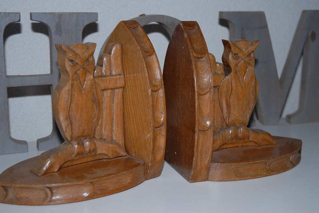 Antique Solid Hand Carved Wood Gothic Art Style Owl Bookends From Europeantiqueshop On Ruby Lane