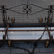 Sold to Lisa -- Rare Huge Art Nouveau Quality Wrought Iron & Glass 14-light Chandelier