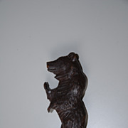 Nice Black Forest Carved in Wood Bear Letter Opener , Paper Knife , Desk